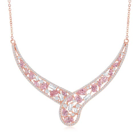 La Preciosa Sterling Silver w/White & Yellow or Rose Gold w/ White & Pink CZ 16+1'' Necklace