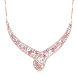La Preciosa Sterling Silver w/White & Yellow or Rose Gold w/ White & Pink CZ 16+1'' Necklace|https://ak1.ostkcdn.com/images/products/18701744/P24791514.jpg?impolicy=medium