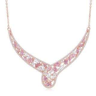 La Preciosa Sterling Silver w/White & Yellow or Rose Gold w/ White & Pink CZ 16+1'' Necklace