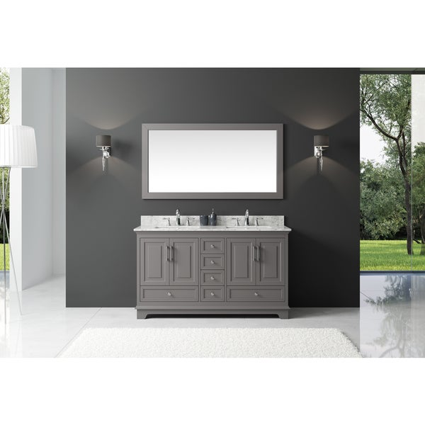 Exclusive Heritage Taupe Grey Wood 60 Inch Double Sink Bathroom Vanity With Carrara White
