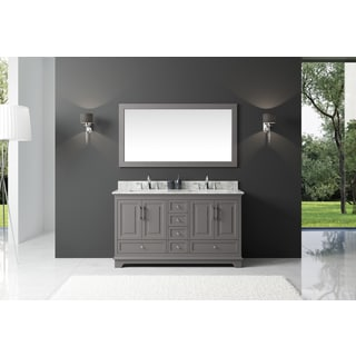 Exclusive Heritage Taupe Grey Wood 60-inch Double-sink Bathroom Vanity with Carrara White Marble Top and Mirror Set