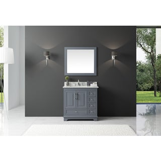 Exclusive Heritage Cashmere Grey Wood 36-inch Single-sink Bathroom Vanity with White Carrara Marble Top and Mirror Set