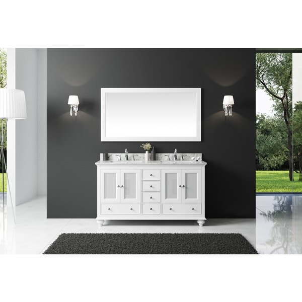 Exclusive Heritage 60-inch Double Sink Bathroom Vanity in White with Carrara White Marble Top and Mirror