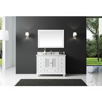 Exclusive Heritage White Wood 48-inch Single-sink Bathroom Vanity with White Carrara Marble Top and Mirror Set