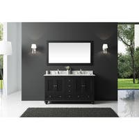 Exclusive Heritage Espresso Wood 60-inch Double-sink Bathroom Vanity with White Carrara Marble Top and Mirror Set