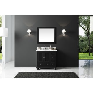 Exclusive Heritage Espresso-finished Wood 36-inch Single-sink Bathroom Vanity with Carrara White Marble Top and Mirror Set