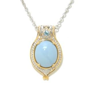 Michael Valitutti Palladium Silver Oregon Blue Opal, Swiss Blue Topaz & Diamond Pendant|https://ak1.ostkcdn.com/images/products/18701790/P24791566.jpg?impolicy=medium