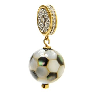 Michael Valitutti Palladium Silver White Mother-of-Pearl & Blue Sapphire Soccer Ball Drop Charm