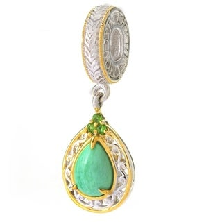 Michael Valitutti Palladium Silver Variscite & Chrome Diopside American Gemstone Drop Charm - Green