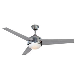 HomeSelects Contempo Silver/Brushed Nickel Finish Opal Glass 52-inch Ceiling Fan With Wall Switch