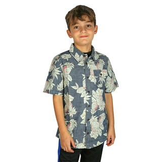 RUUM Eggshell Blue Pineapple Print Button Down Collared Shirt