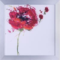 20.75X20.75 Poppy Pink, floral framed paper wall art