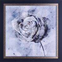 21.5X21.5 Grey Rose. floral framed paper wall art