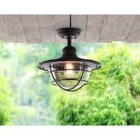 "Design Craft Savoie 13.19"" Sandy Black 1 Light Semi-Flush Mount"