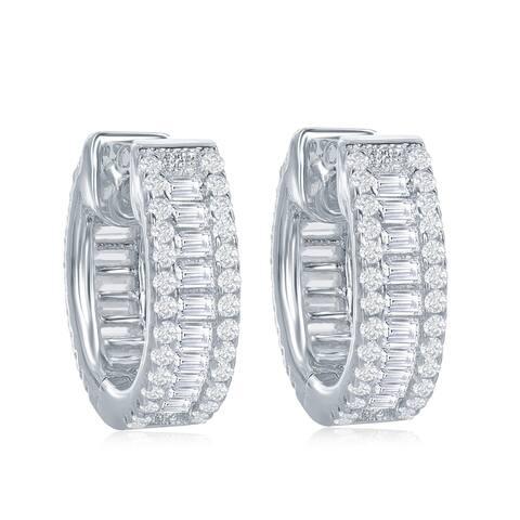 Sterling Silver or Rose Gold Baguette Cubic Zirconia Small Hoop Earrings