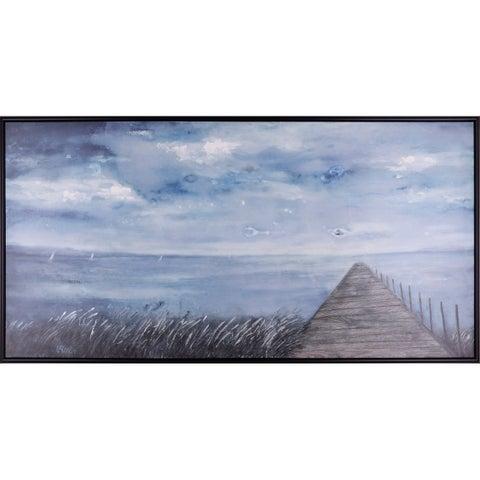 31.25X61.25 Autumn Dock, Framed acrylic canvas art