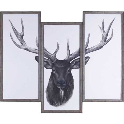 38X47 Deer Head Tri-pack, Framed paper wall art