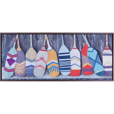 21.60X51.60 Paddle Family, Framed acrylic canvas wall art