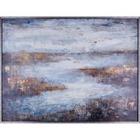 37.25X49.25 Riverbend, Framed acrylic canvas wall art
