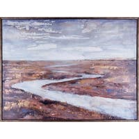 38.25X50.25 Down the riverbank, Framed acrylic canvas wall art
