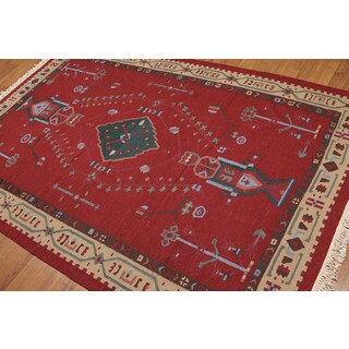 Southwestern Burgundy Wool Turkish Kilim Dhurry Area Rug (5' 5 x 8' 3)