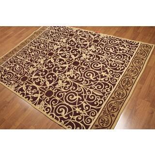 Plum/Gold Wool Victorian Design Portuguese Area Rug (5'7 x 7'7)
