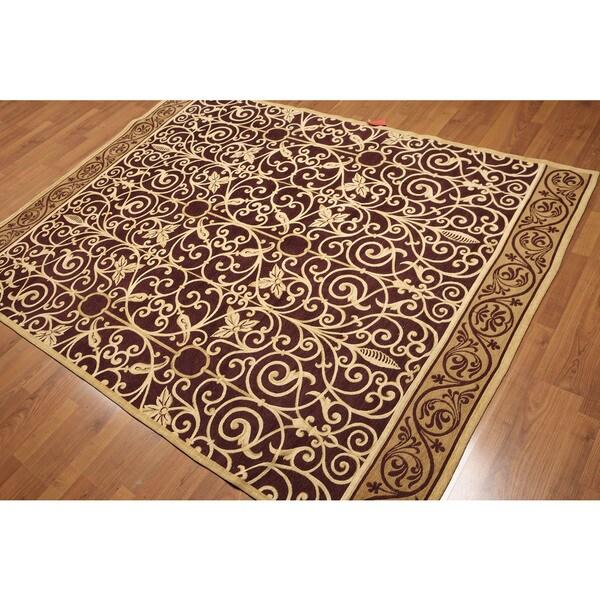 Plum/Gold Wool Victorian Design Portuguese Area Rug (5u0026#x27;7 X