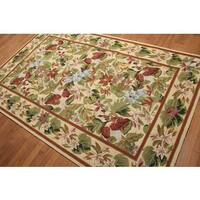 Rich Ornate Botanical Hand-hooked Area Rug (5' x 8')