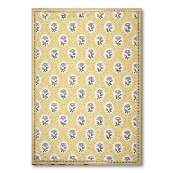 Shop Aubusson Mustard Yellow Blue Wool Floral Ornamental