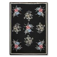 Country Cottage Needlepoint Aubusson Multicolor Wool Hand-woven Floral Area Rug (6' x 9')