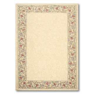 Traditional Country Cottage Multicolor Wool Floral Hand-hooked Area Rug (5'6 x 8'6) - multi