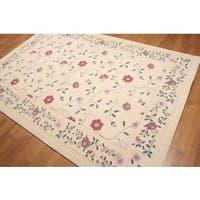 Botanical Country Cottage Persian Multicolor Wool Oriental Area Rug (6' x 9')