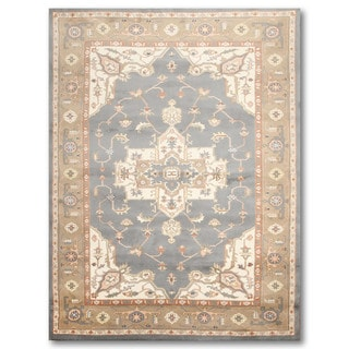 Multicolor Pure Wool Traditional Heriz Persian Oriental Area Rug (6' x 9') - Grey/Tan - 6' x 9'
