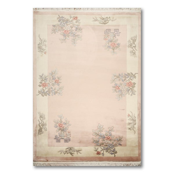S Botanical Chinese Art Deco Oriental Multicolored Wool Area Rug