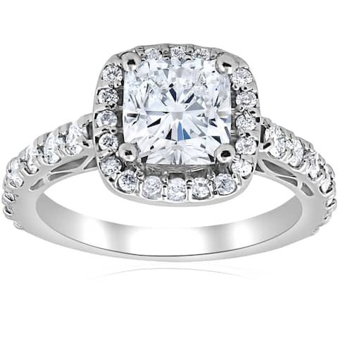 Pompeii3 14k White Gold 2 1/5ct Cushion Diamond Clarity Enhanced Halo Vintage Engagement Ring