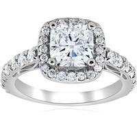 Bliss 14k White Gold 2 1/5ct Cushion Diamond Clarity Enhanced Halo Vintage Engagement Ring