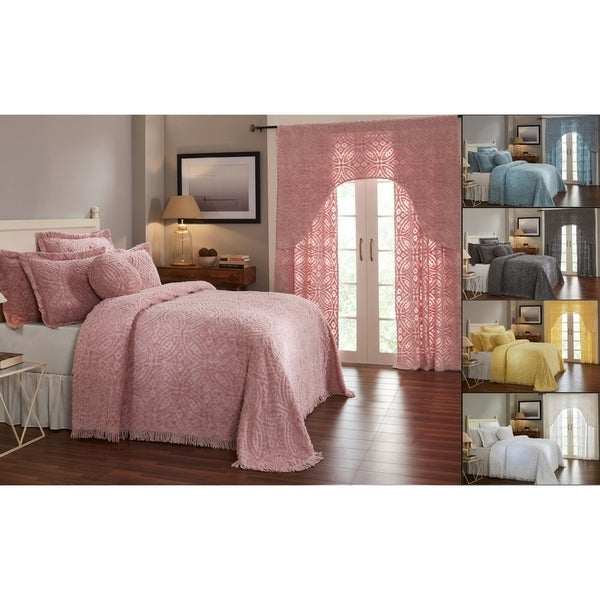 Better Trends Double Wedding Ring Collection 100/% Cotton Tufted Chenille Pink Queen Bedspread
