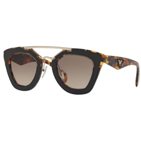 Shop Prada PR 14SS VHA3DO Womens Black Frame Brown Lens Sunglasses ...