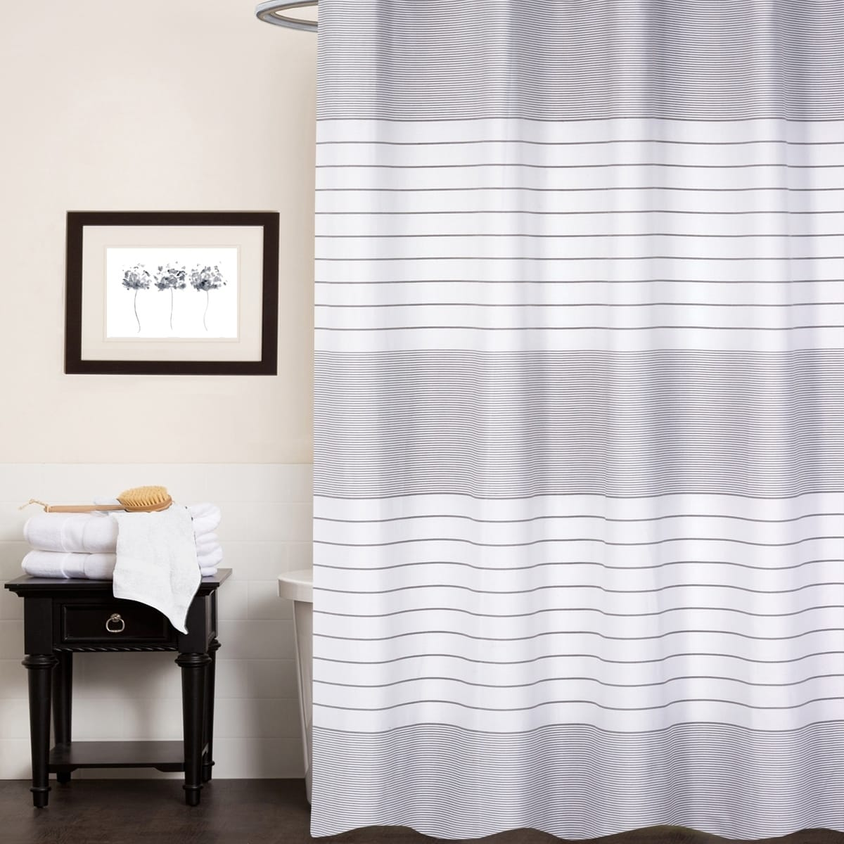 Pacey 100 Cotton Striped Shower Curtain 70 X72 Blue
