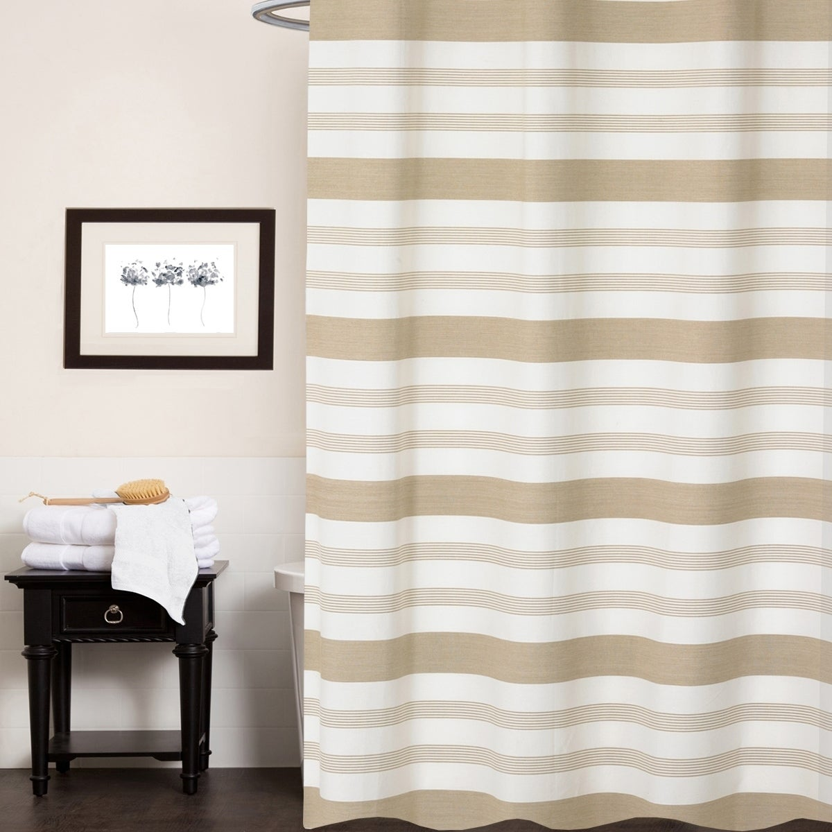 Nowell 100 Cotton Striped Shower Curtain 70 X72 Tan
