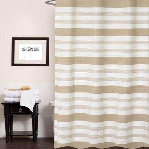 "Nowell 100% Cotton Striped Shower Curtain 70""x72"" (Tan)"