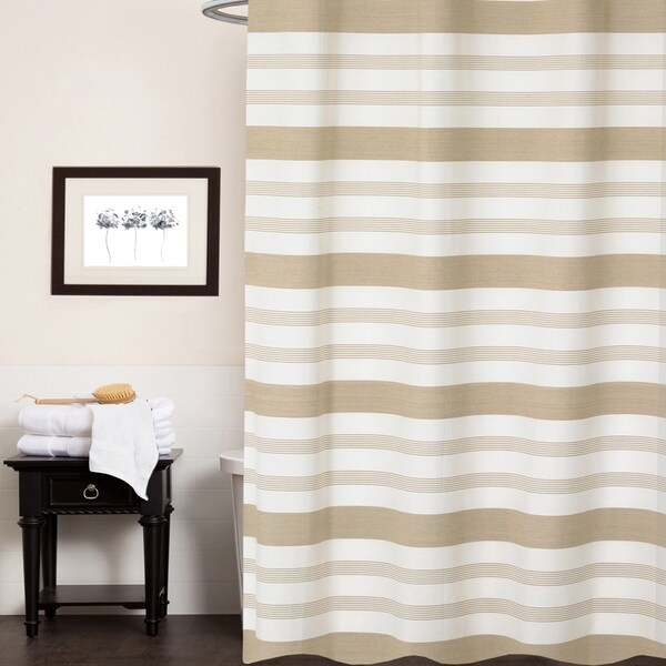 Shop Nowell 100 Cotton Striped Shower Curtain 70x72 Tan