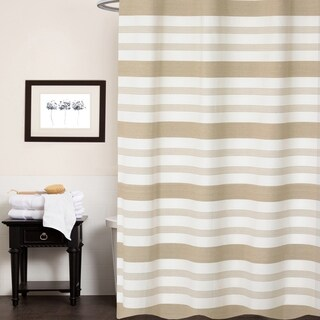 "Nowell 100% Cotton Striped Shower Curtain 70""x72"" (Tan)"
