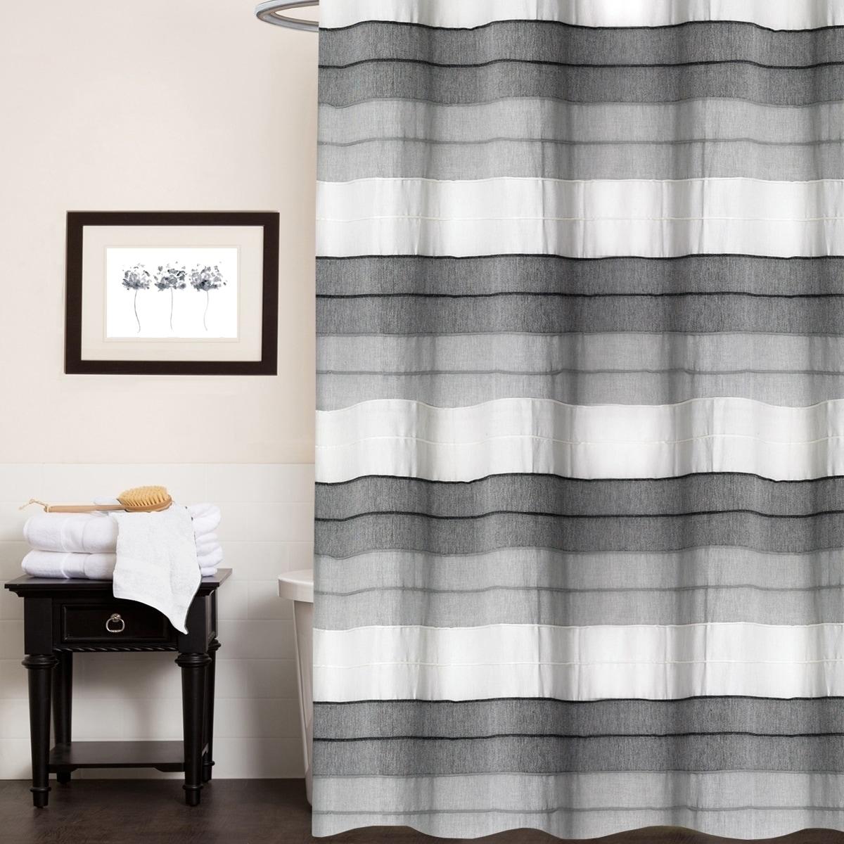 Hellen 100 Cotton Striped Shower Curtain 70 X72 Charcoal