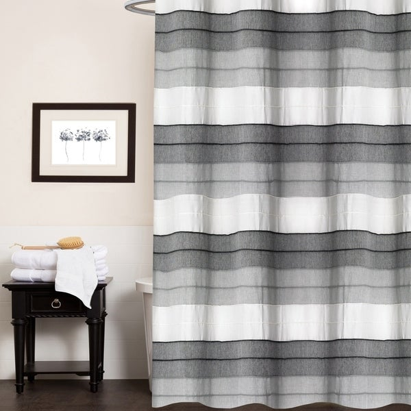 "Hellen 100% Cotton Striped Shower Curtain 70""x72"" (Charcoal)"