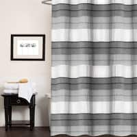 "Hellen 100% Cotton Striped Shower Curtain 70""x72"" (Charcoal) - Charcoal"