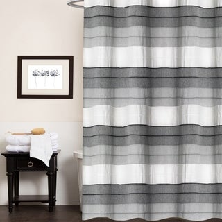 "Hellen 100% Cotton Striped Shower Curtain 70""x72"" (Charcoal)"