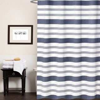 Nowell 100-percent Cotton Blue Striped Shower Curtain