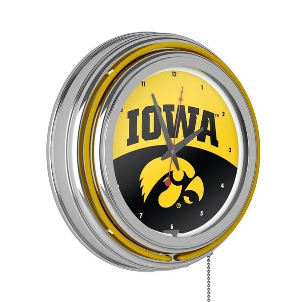 University of Iowa Chrome Double Rung Neon Clock - Logo - University of Iowa