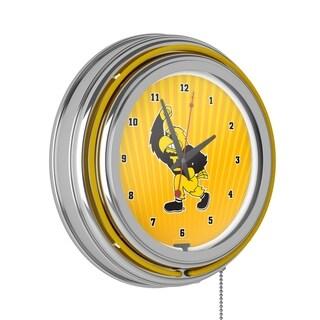 University of Iowa Chrome Double Rung Neon Clock - Herky